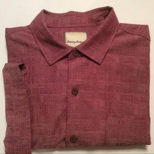 Tommy Bahama red silk blend casual shirt size L